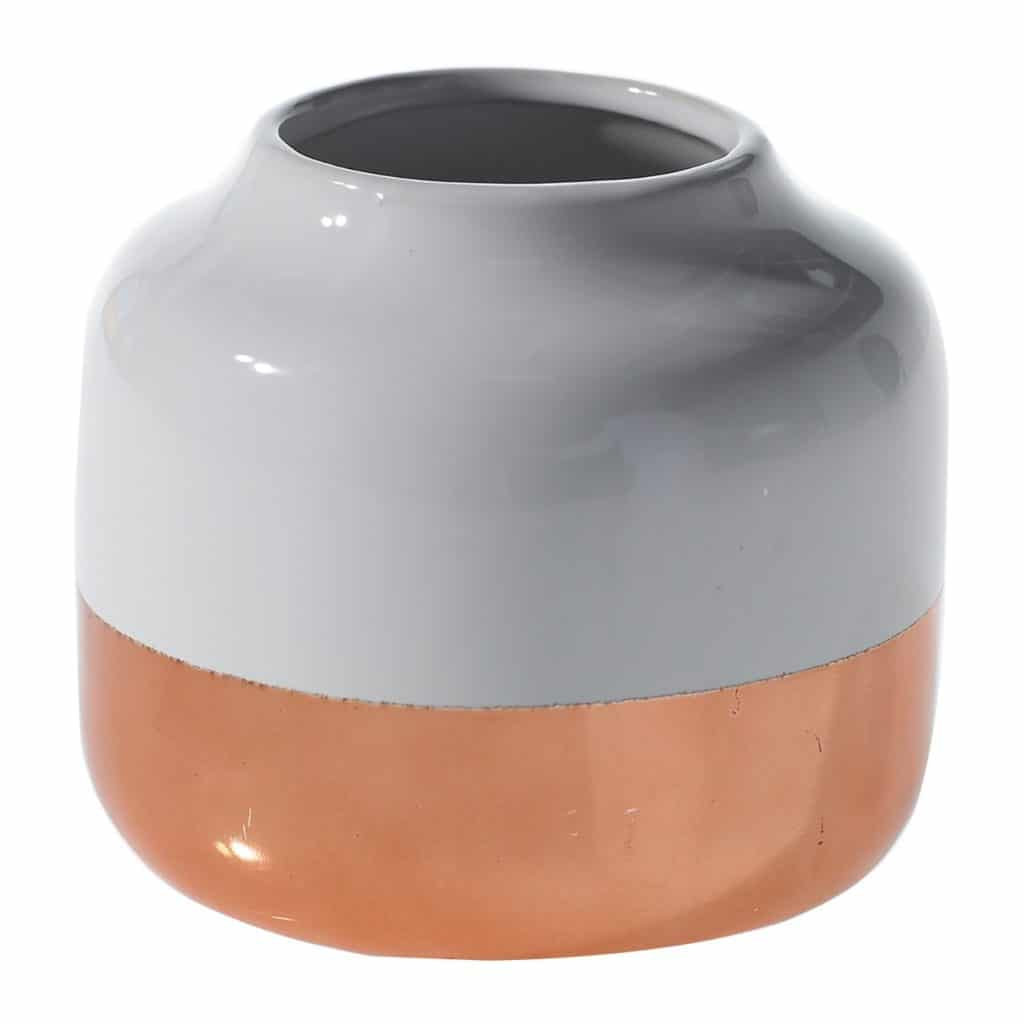 Copper and White Round Ceramic Plant Pots by Accent Décor