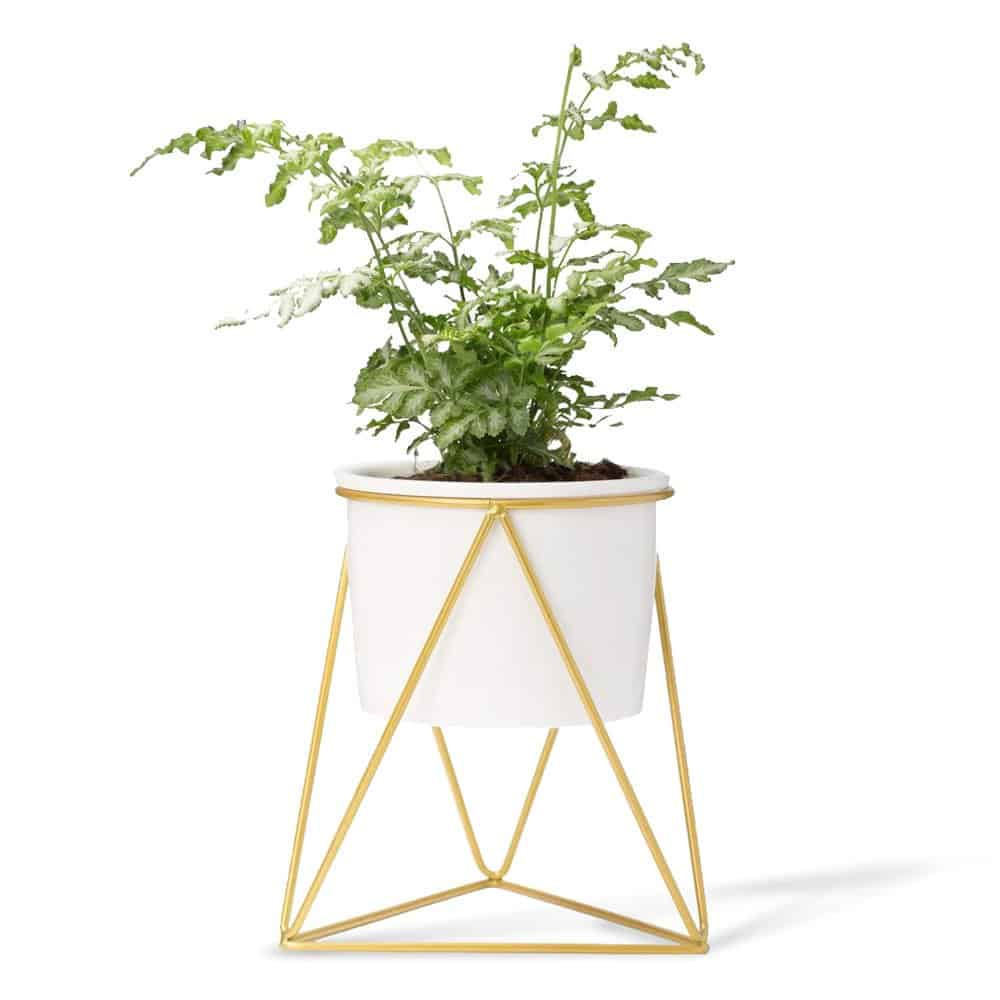 Ceramic Planter with Metal Stand by Mkono